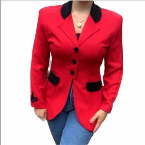 Vintage 80s Button Down Red Blazer
